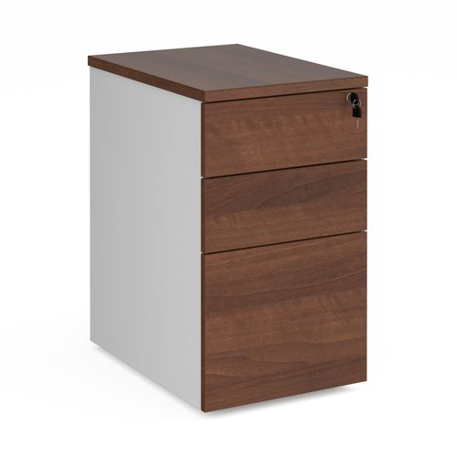 Duo desk high 3 drawer pedestal 600mm deep - white with walnut drawers