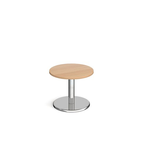 Image for Pisa circular coffee table with round chrome base 600mm - beech