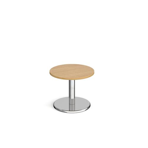 Image for Pisa circular coffee table with round chrome base 600mm - oak