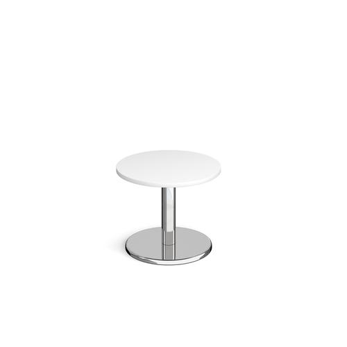 Pisa circular coffee table with round chrome base 600mm - white