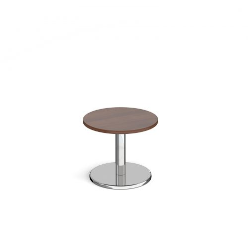 Image for Pisa circular coffee table with round chrome base 600mm - walnut