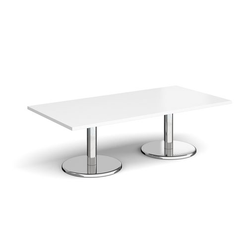 Pisa rectangular coffee table with round chrome bases 1600mm x 800mm - white