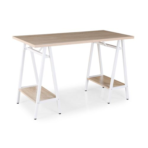 Pella home office workstation with trestle legs – Windsor oak with white frame