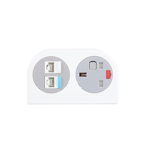 Phase multi-surface power module 1 x UK socket/2 x RJ45 sockets - white