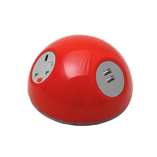 Pluto domed on-surface power module with 1 x UK socket plus 1 x TUF (A&C connectors) USB charger - light green