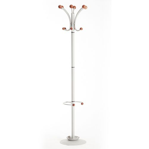 Image for Coat & umbrella stand with 12 coat hooks and 4 umbrella hooks 1840mm high - silver