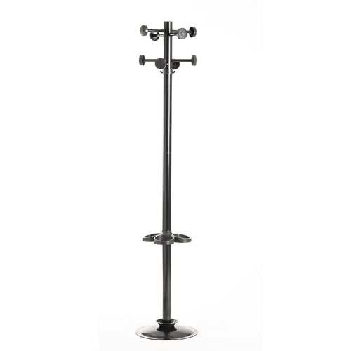 Image for Coat & umbrella stand with 8 coat hooks and 8 umbrella hooks 1780mm high - black