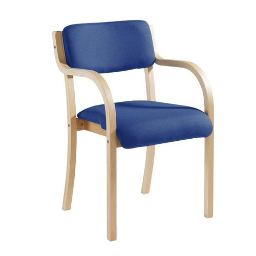 Image for Prague wooden conference chair with double arms - blue