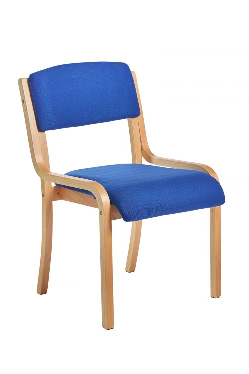 Image for Prague wooden conference chair with no arms - blue