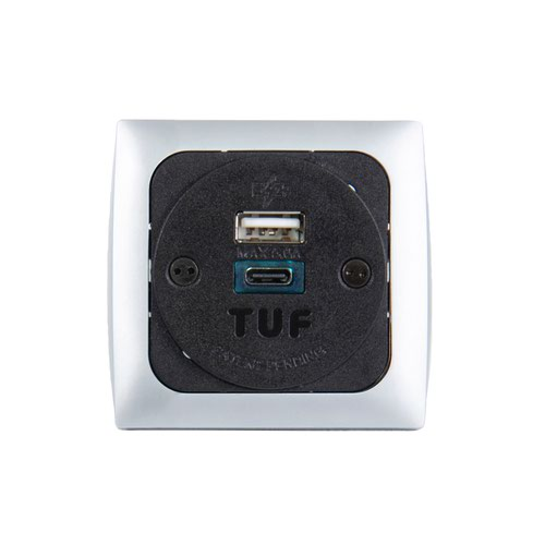 Proton panel mounted power module 1 x UK socket and 1 x TUF (A&C connectors) USB charger - silver/black