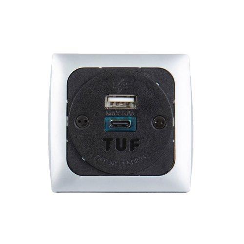 Proton panel mounted power module 1 x UK socket plus 1 x TUF (A&C connectors) USB charger - silver/black