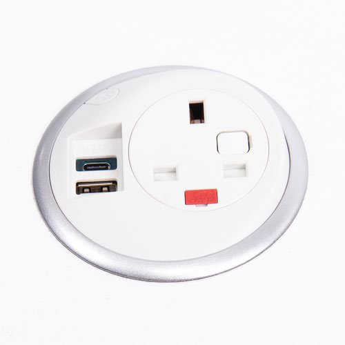 Pixel in-surface power module 1 x UK socket plus 1 x TUF (A&C connectors) USB charger - white