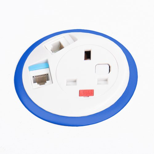 Pixel in-surface power module with 1 x UK socket plus 2 x RJ45 sockets - dark blue