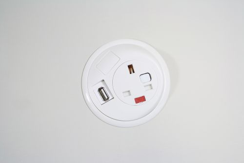 Image for Pixel in-desk power and data module with 1 x UK socket and 1 x twin USB - white