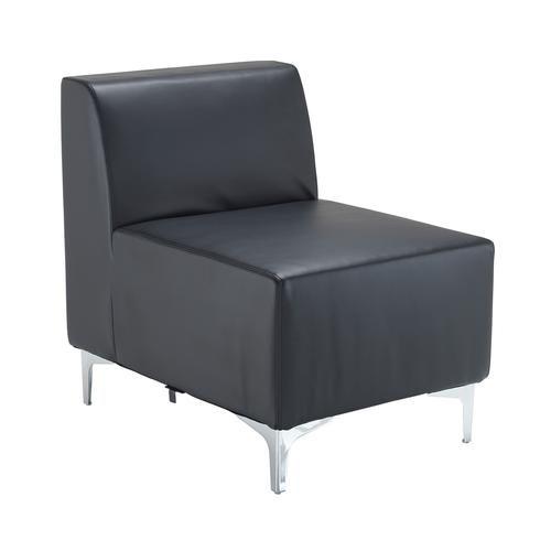 Image for Quatro leather modular reception seating straight unit with back - black