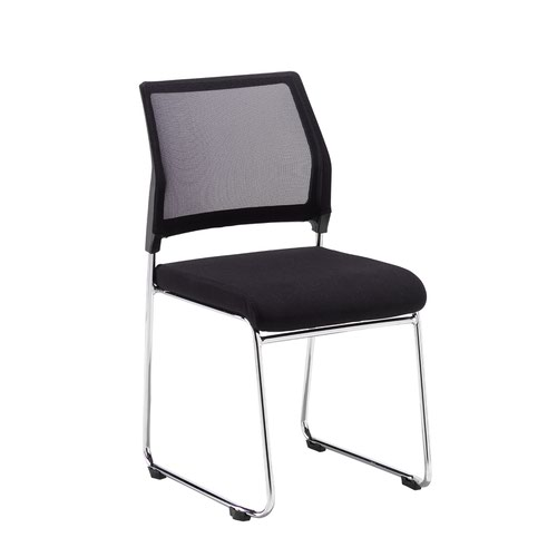 Quavo black mesh back multi-purpose chair with black fabric seat and chrome wire frame (pack of 4)
