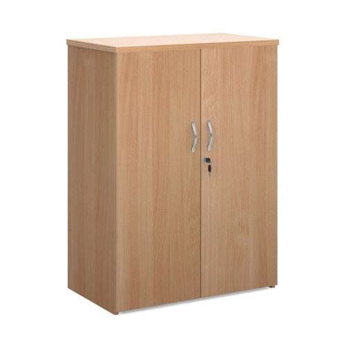 Universal double door cupboard 1090mm high with 2 shelves - beech