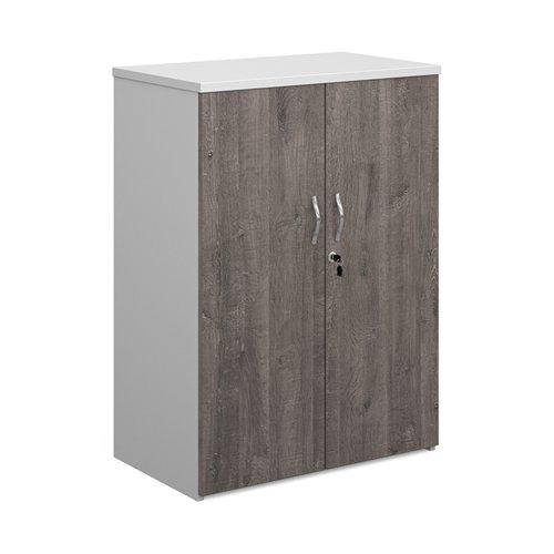 Duo double door cupboard 1090mm high with 2 shelves - white with grey oak doors
