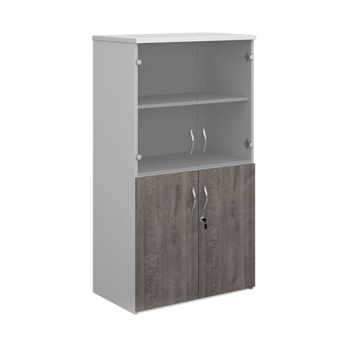 Duo combination unit with glass upper doors 1440mm high with 3 shelves - white with grey oak lower doors