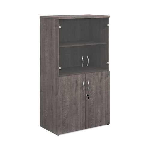 Universal combination unit with glass upper doors 1440mm high with 3 shelves - grey oak
