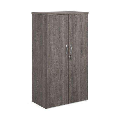 Universal double door cupboard 1440mm high with 3 shelves - grey oak