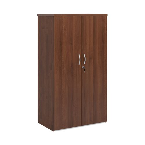 Image for Universal double door cupboard 1440mm high with 3 shelves - walnut