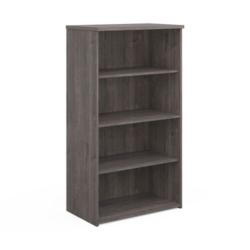 Universal bookcase 1440mm high with 3 shelves - grey oak