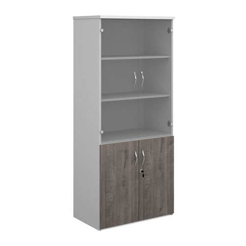 Duo combination unit with glass upper doors 1790mm high with 4 shelves - white with grey oak lower doors