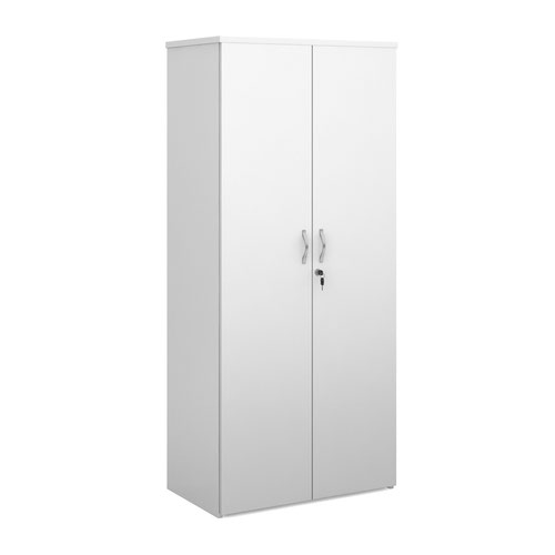 Universal double door cupboard 1790mm high with 4 shelves - white