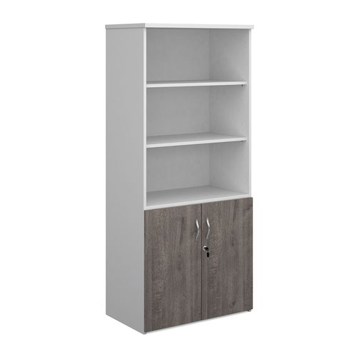 Duo combination unit with open top 1790mm high with 4 shelves - white with grey oak lower doors