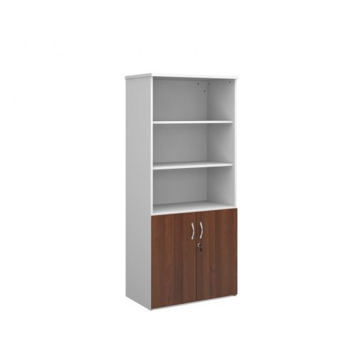Image for Universal combination unit with open top 1790mm high with 4 shelves - white with walnut lower doors