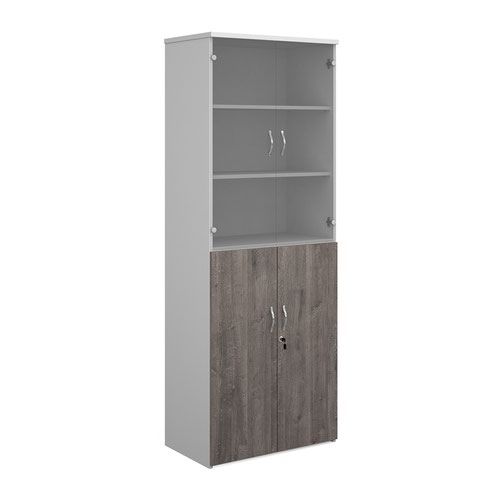 Duo combination unit with glass upper doors 2140mm high with 5 shelves - white with grey oak lower doors
