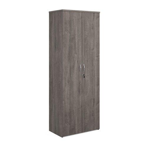 Universal double door cupboard 2140mm high with 5 shelves - grey oak