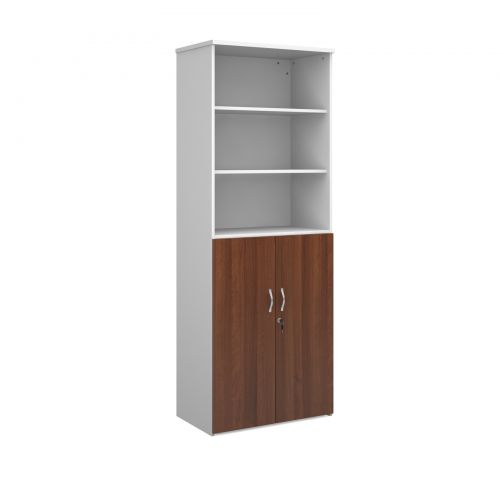 Image for Universal combination unit with open top 2140mm high with 5 shelves - white with walnut lower doors