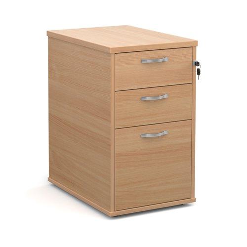 Desk high 3 drawer pedestal with silver handles 600mm deep - beech