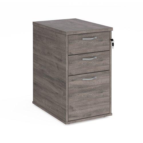 Desk high 3 drawer pedestal with silver handles 600mm deep - grey oak