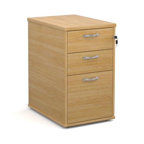 Dams 600 Deep 3 Drawer Desk Hign Pedestal With Handles Oak