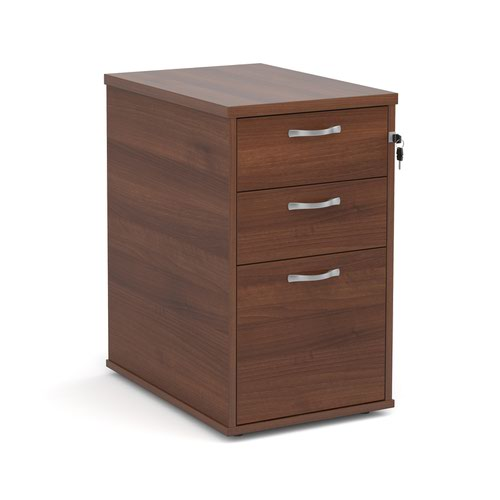 Desk high 3 drawer pedestal with silver handles 600mm deep - walnut