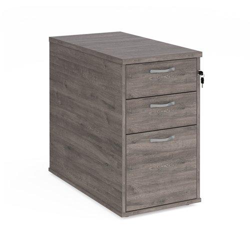 Desk high 3 drawer pedestal with silver handles 800mm deep - grey oak