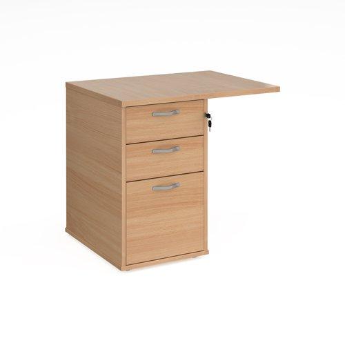 Desk high 3 drawer pedestal 600mm deep with 800mm flyover top - beech