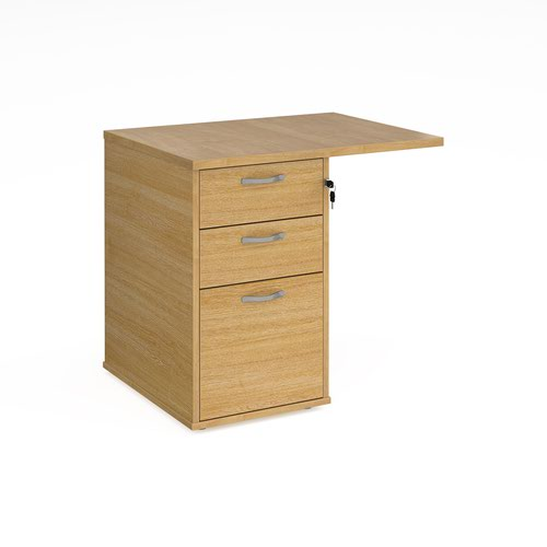 Desk high 3 drawer pedestal 600mm deep with 800mm flyover top - oak