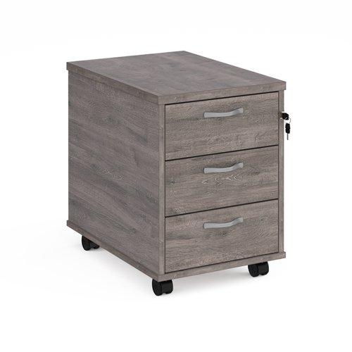 Mobile 3 drawer pedestal with silver handles 600mm deep - grey oak