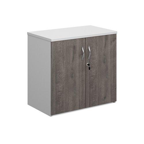 Duo double door cupboard 740mm high with 1 shelf - white with grey oak doors