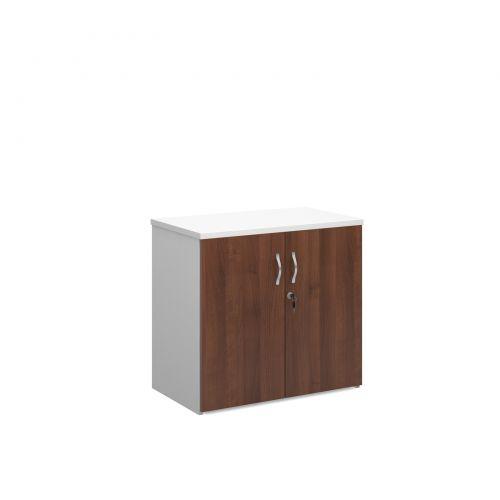 Universal double door cupboard 740mm high with 1 shelf - white with walnut doors