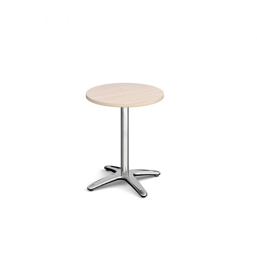 Image for Roma circular dining table with 4 leg chrome base 600mm - maple