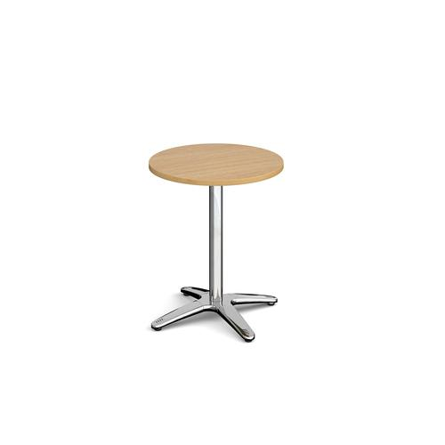 Image for Roma circular dining table with 4 leg chrome base 600mm - oak