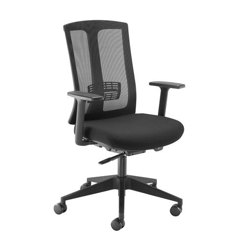 Image for Ronan mesh back operators chair with fixed arms - black