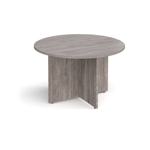 Arrow head leg circular meeting table 1200mm - grey oak