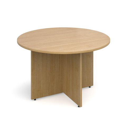 Image for Arrow head leg circular meeting table 1200mm - oak