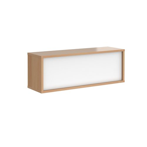 Denver reception straight top unit 1200mm - beech with white panels